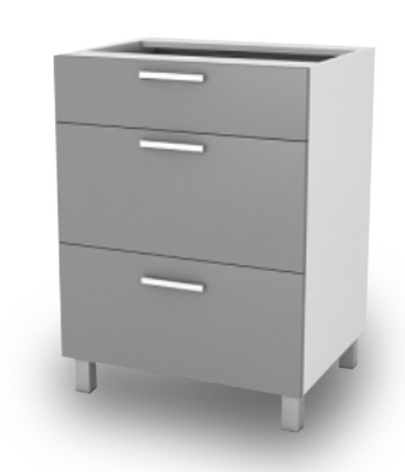 Kuchyňská skříňka Natanya SZ40 3SZ šedý lesk