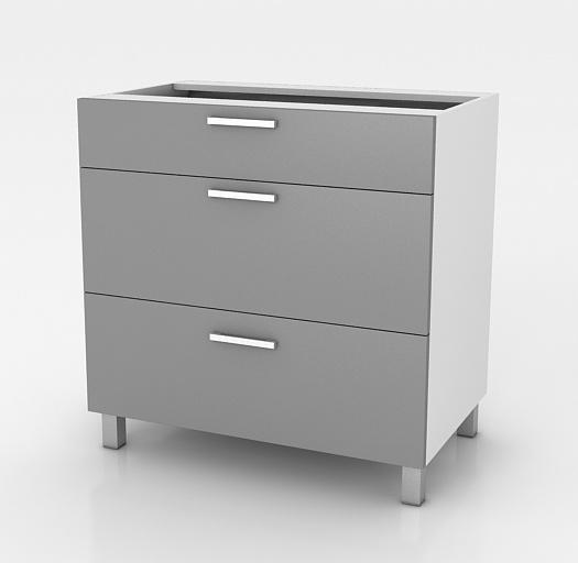 Kuchyňská skříňka Natanya SZ60 3SZ šedý lesk