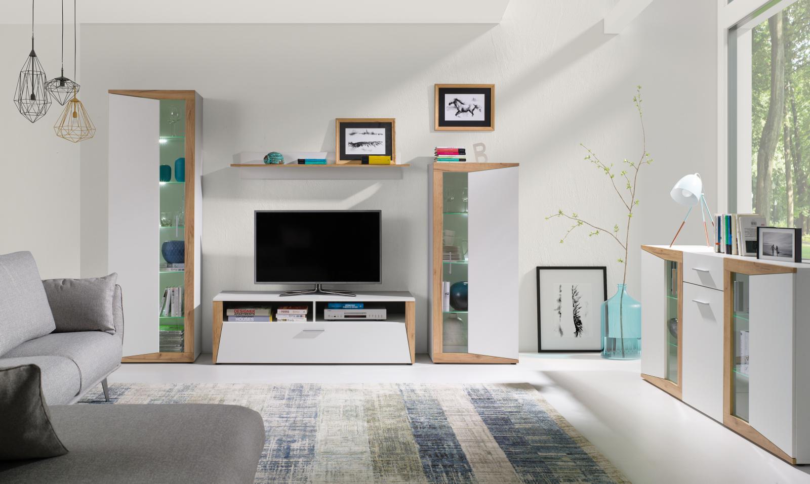 Obývací stěna Piass bílá/dub zlatý