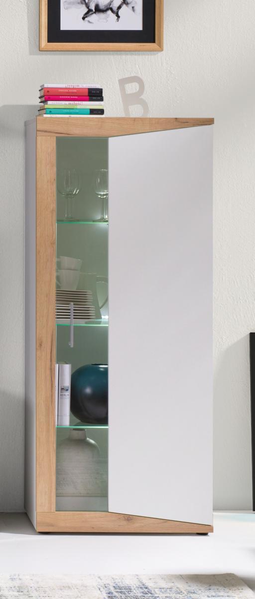 Nízká vitrína Piass pravá bílá/dub zlatý