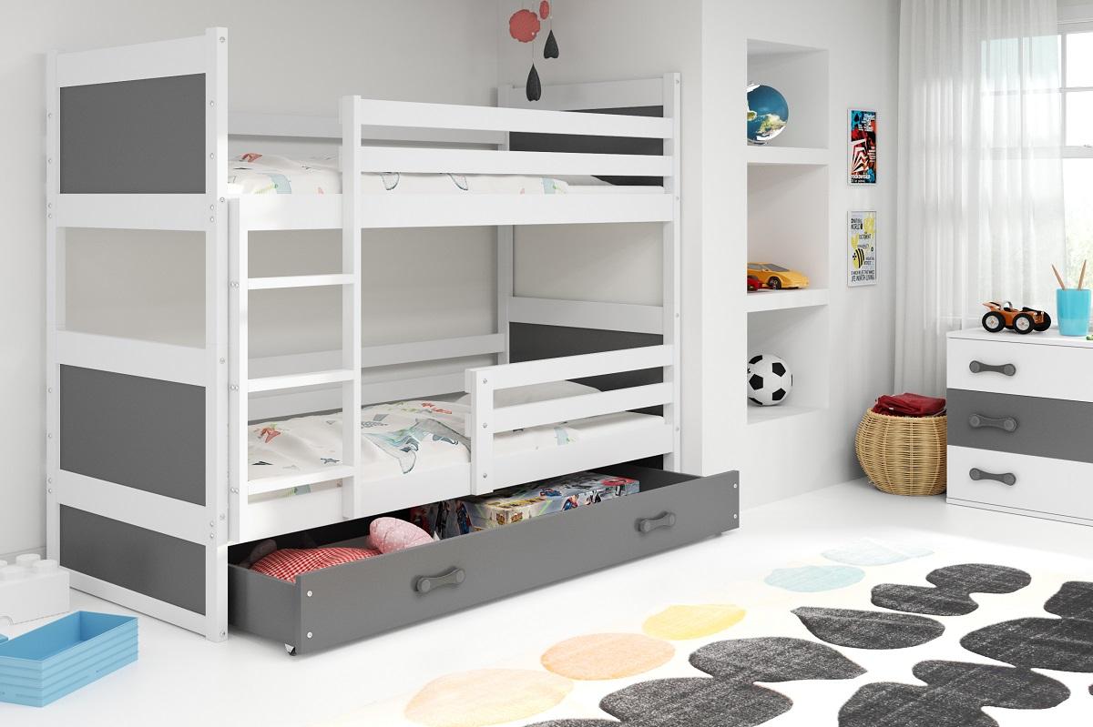 Patrová postel Riky bílá/grafit