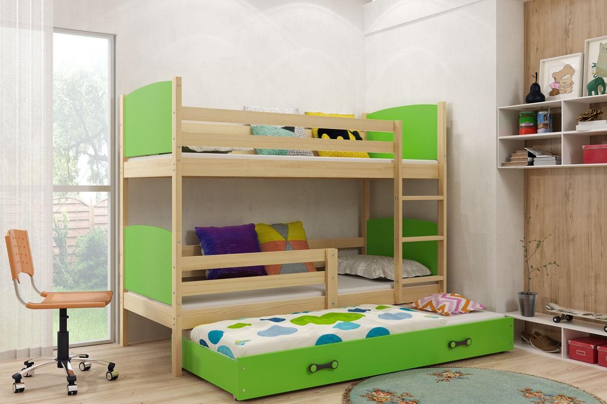 Patrová postel s přistýlkou Tamita borovice/zelená