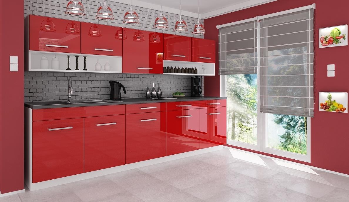 Kuchyňská linka Devil 260 červený lesk