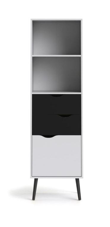 Regál Retro 382 bílá/černá