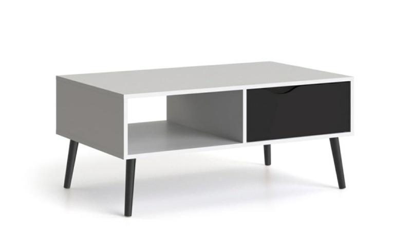 Konferenční stolek Retro 384 bílá/černá