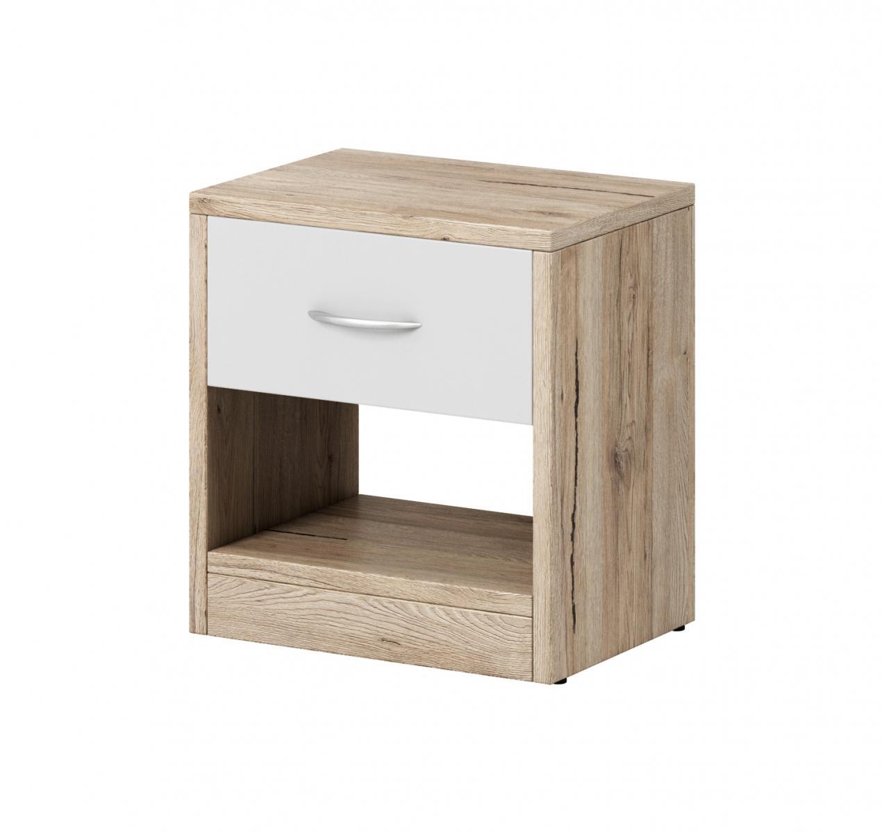 Noční stolek Izzy 1s dub san remo/bílá