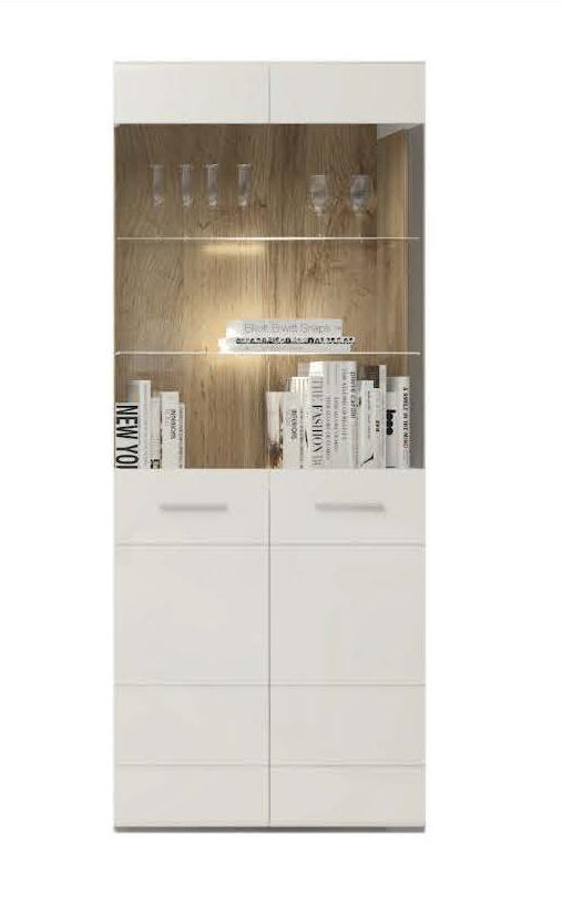Vitrína s LED osvětlením Thierry TH 5 bílá/dub ender/bílý lesk
