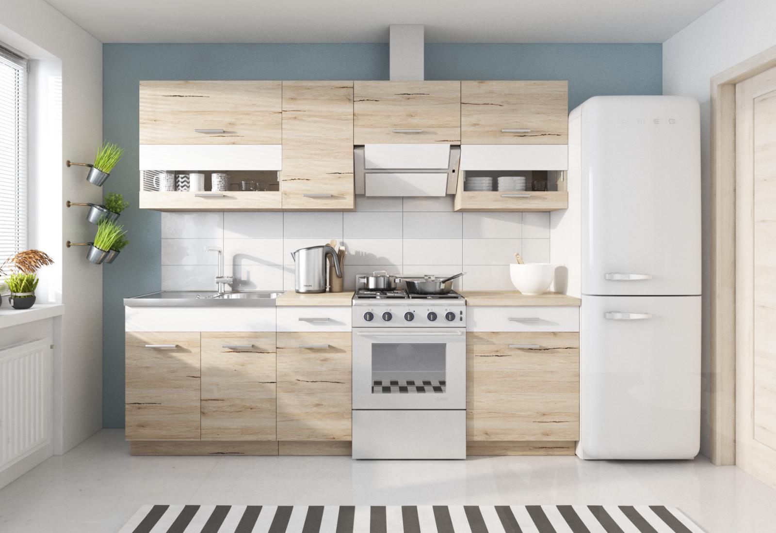 Kuchyňská Linka Sergio 180/240 dub San Remo/bílá