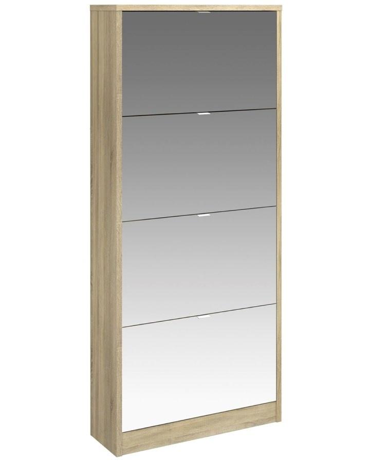 Botník Flap 014 4KL oak/zrcadlo