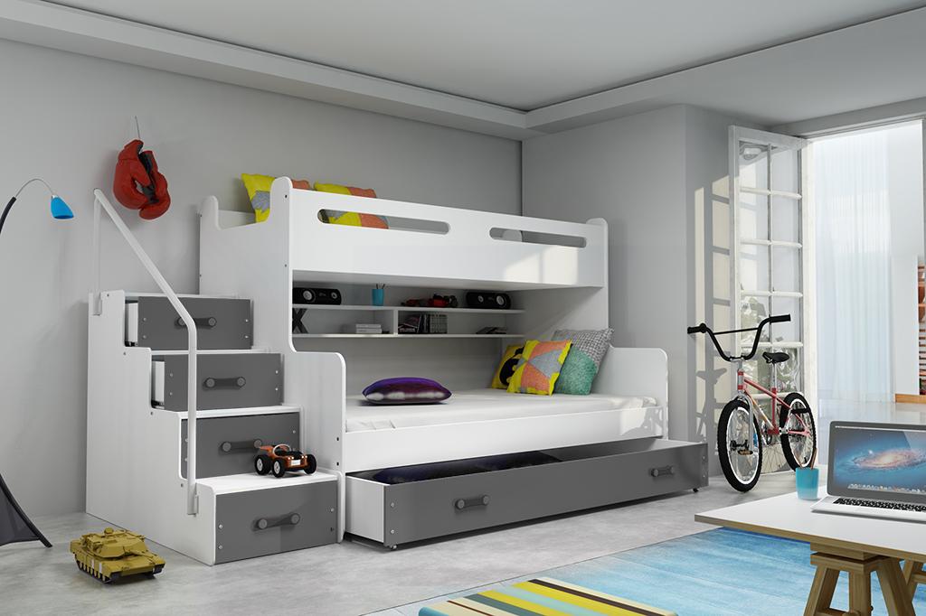 Patrová postel Maty NEW ÚP bílá/grafit