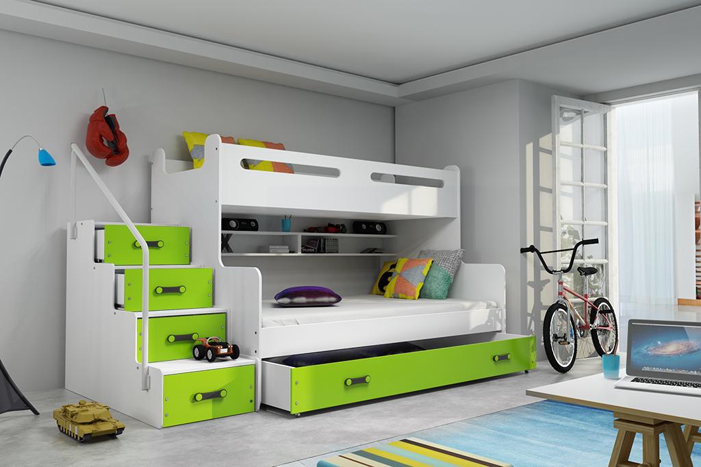 Patrová postel Maty NEW ÚP bílá/zelená