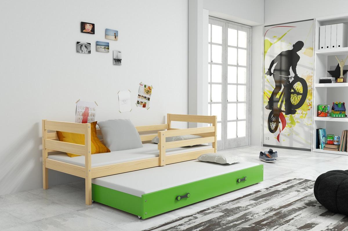 Postel s přistýlkou Norbert II 90x200 borovice/zelená