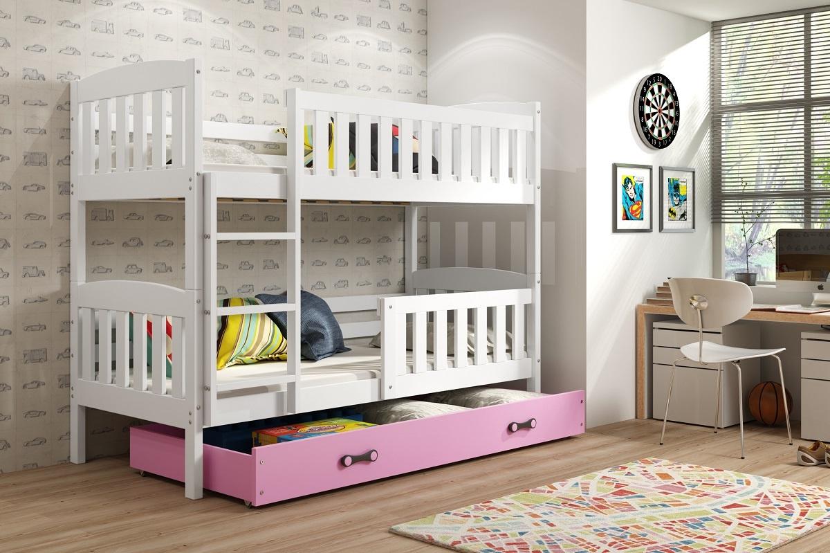Patrová postel Kuba bílá/růžová