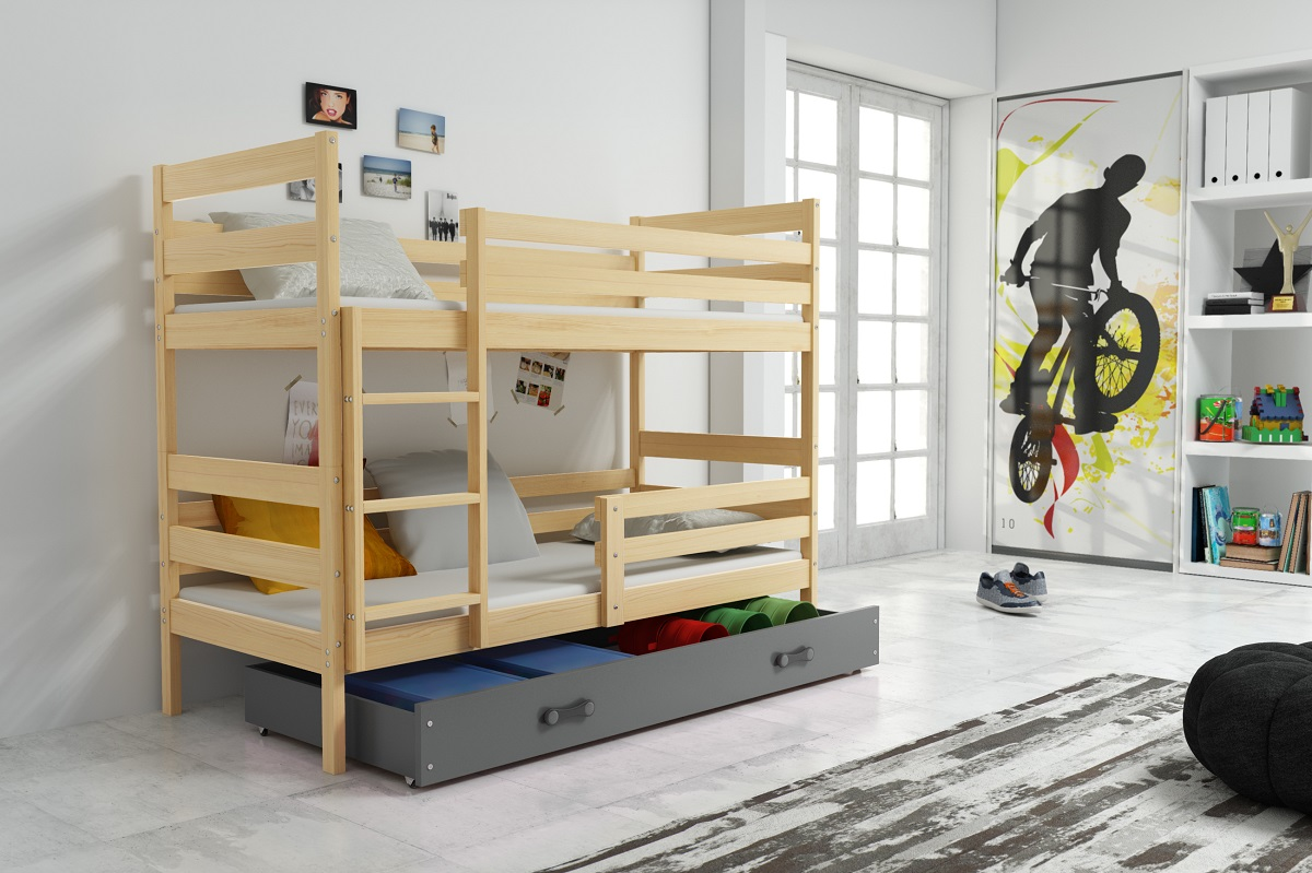 Patrová postel Norbert borovice/grafit