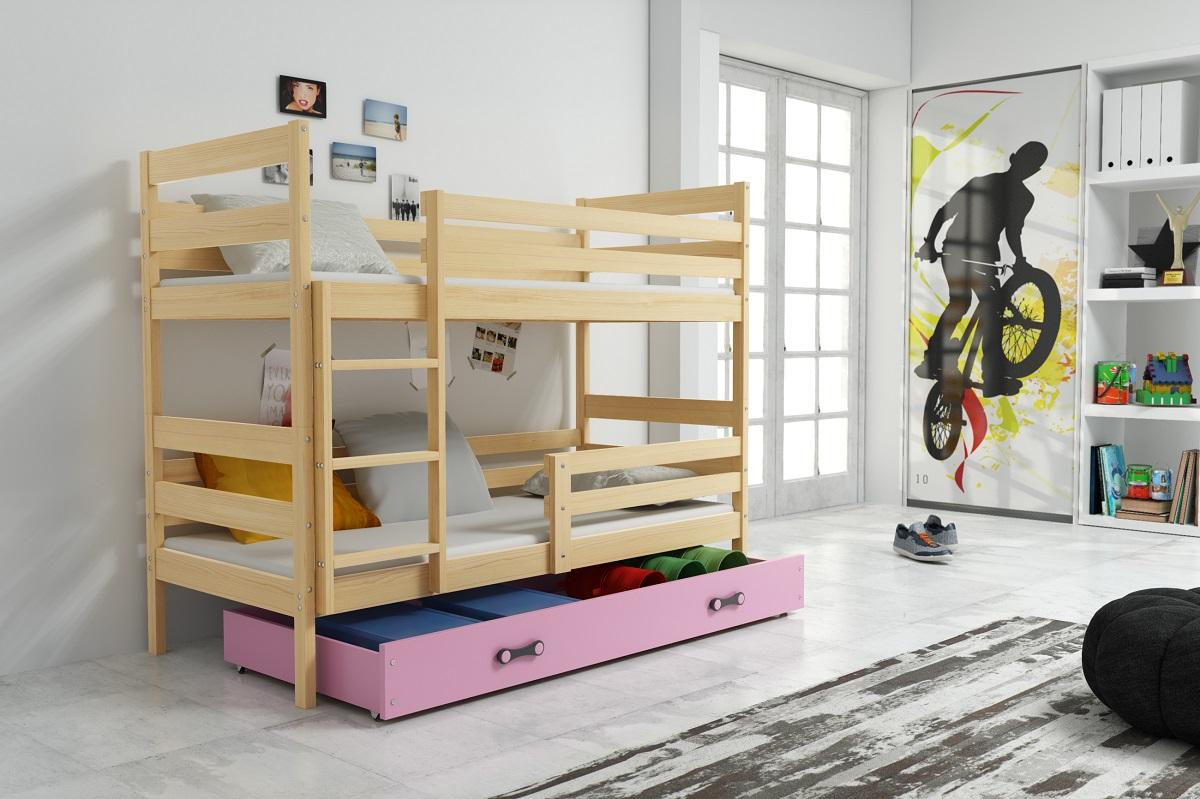 Patrová postel Norbert borovice/růžová