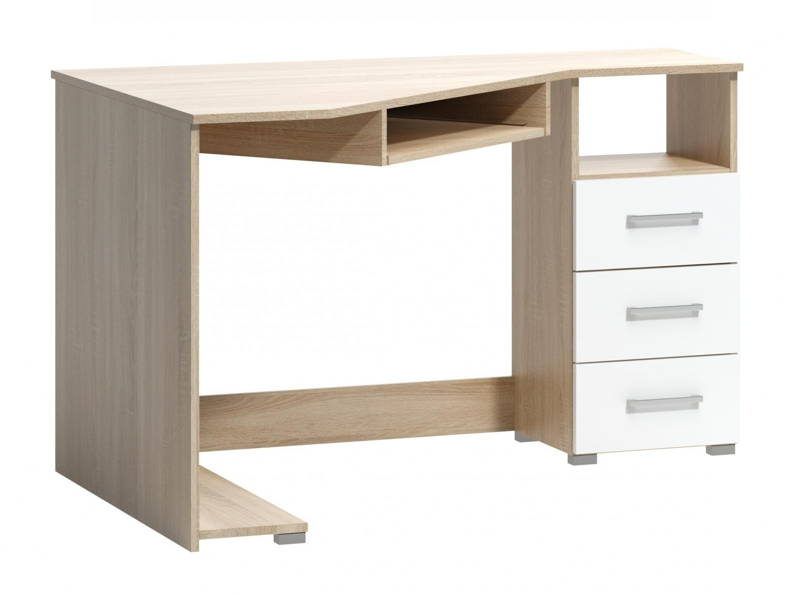 Rohový psací stůl Fatra 18 pravý dub sonoma/bílá
