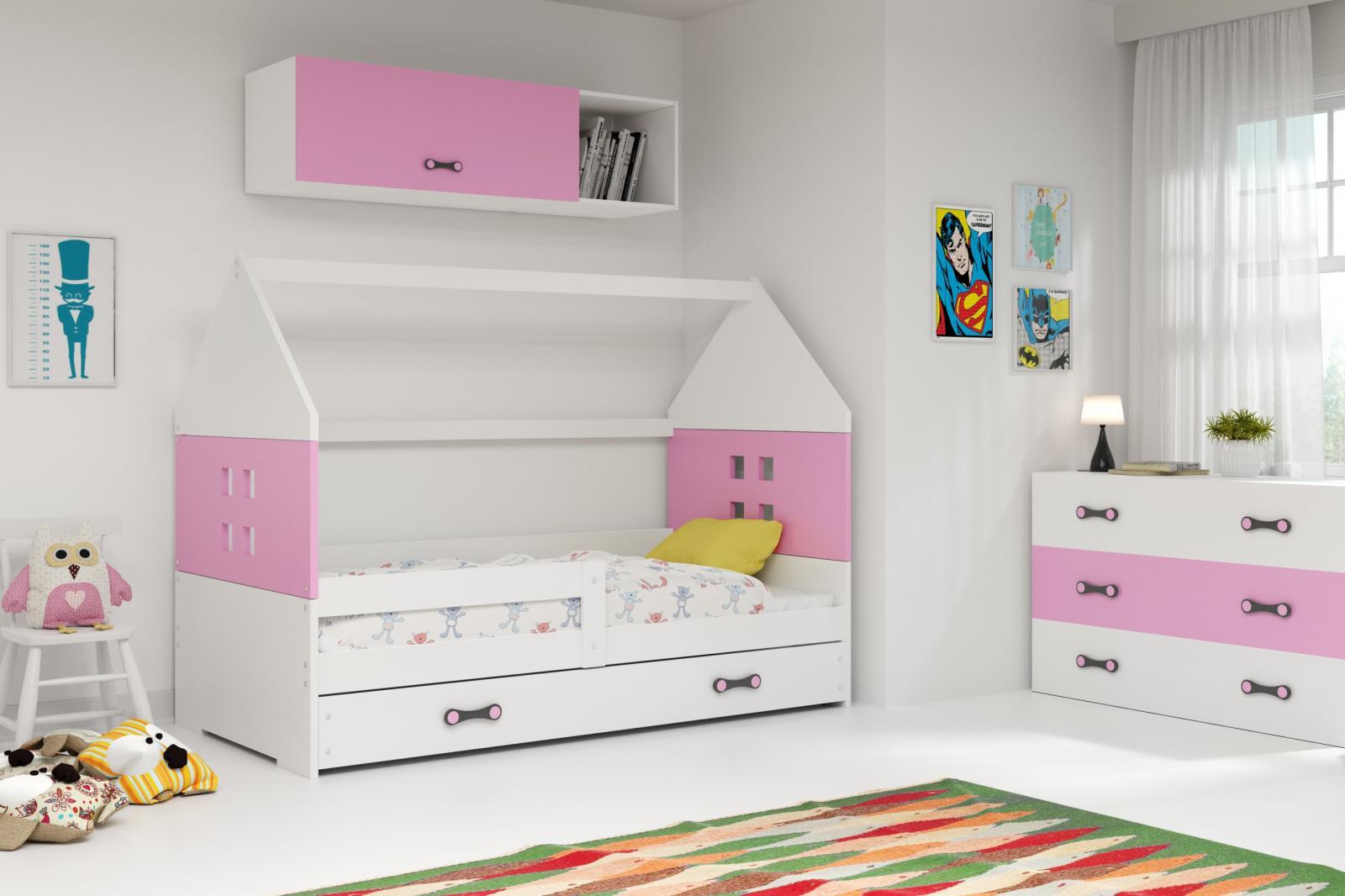 Dětská postel Dominik 80x160 bílá/růžová