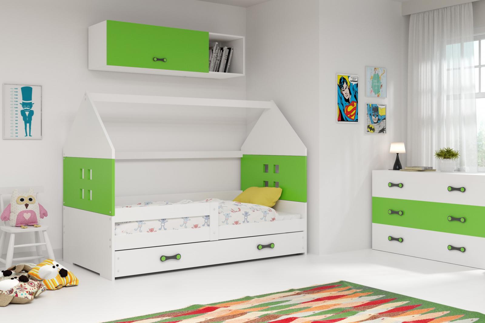 Dětská postel Dominik 80x160 bílá/zelená