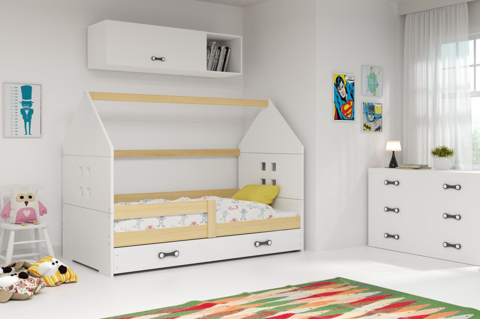 Dětská postel Dominik 80x160 borovice/bílá