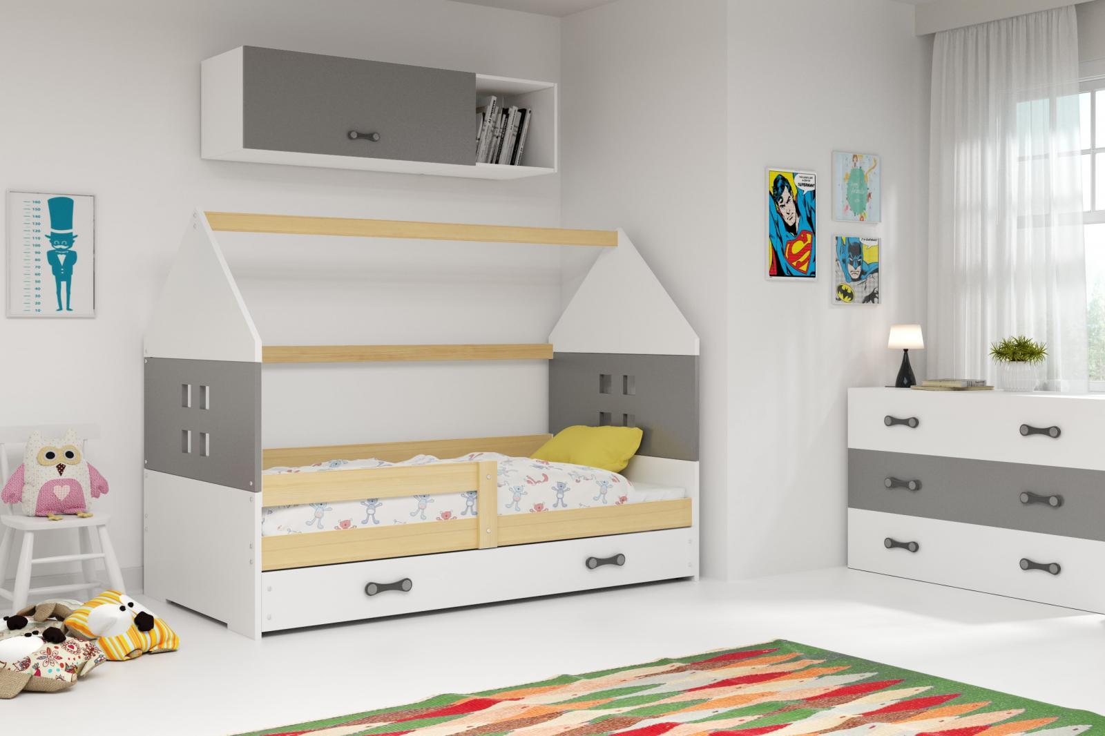 Dětská postel Dominik 80x160 borovice/grafit/bílá