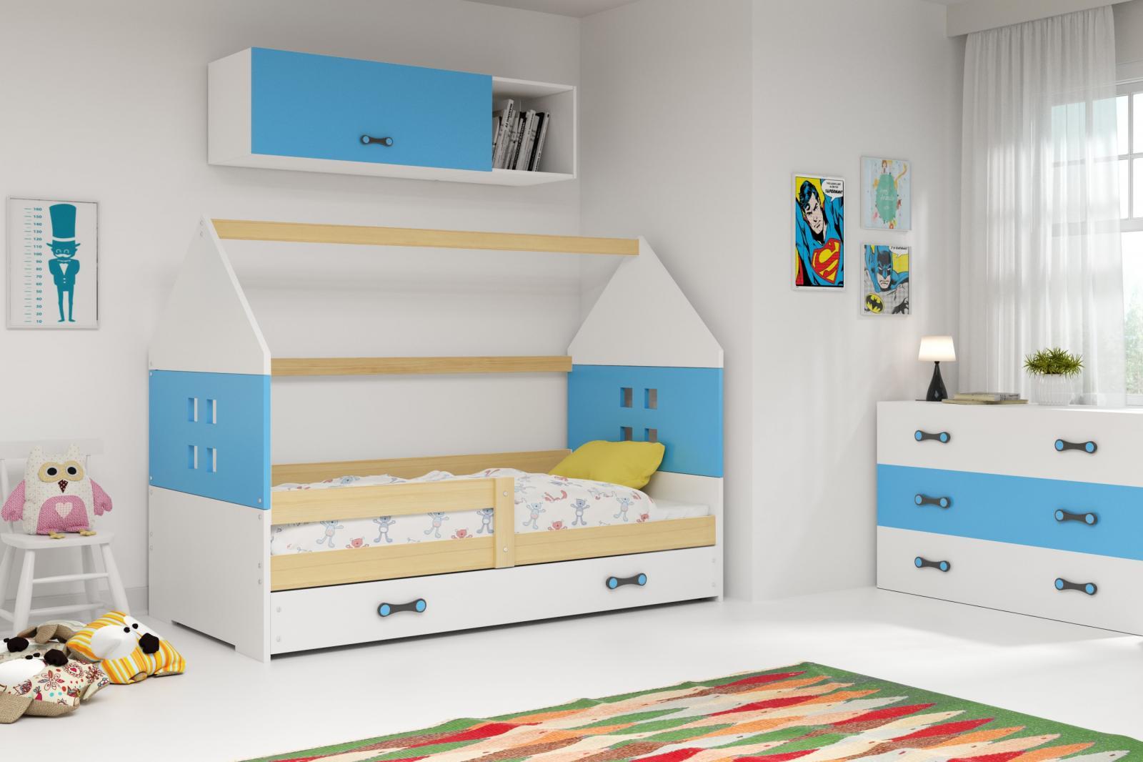 Dětská postel Dominik 80x160 borovice/modrá/bílá