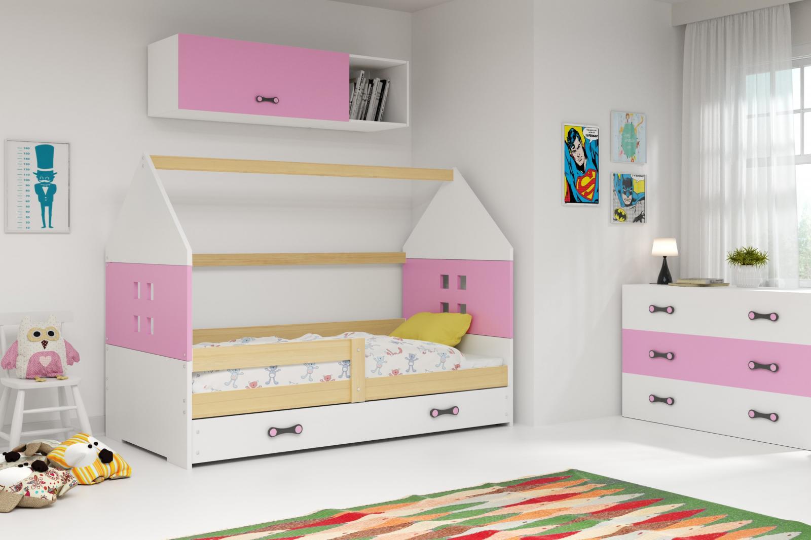 Dětská postel Dominik 80x160 borovice/růžová/bílá