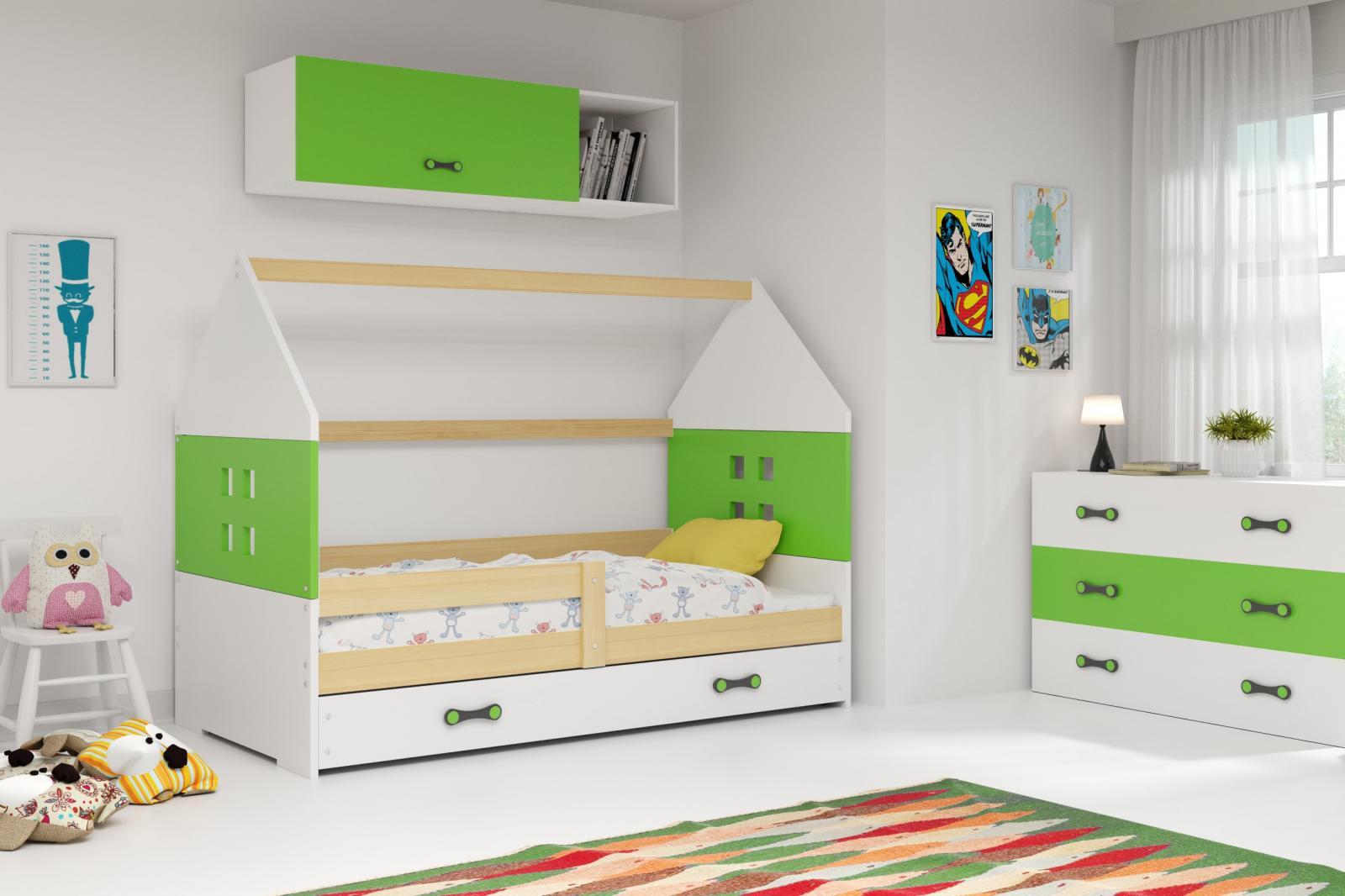 Dětská postel Dominik 80x160 borovice/zelená/bílá