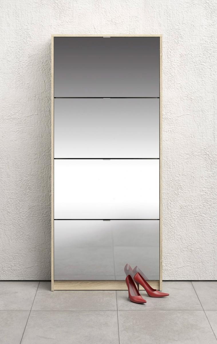 Botník Flap 010 4KL dub sonoma/zrcadlo