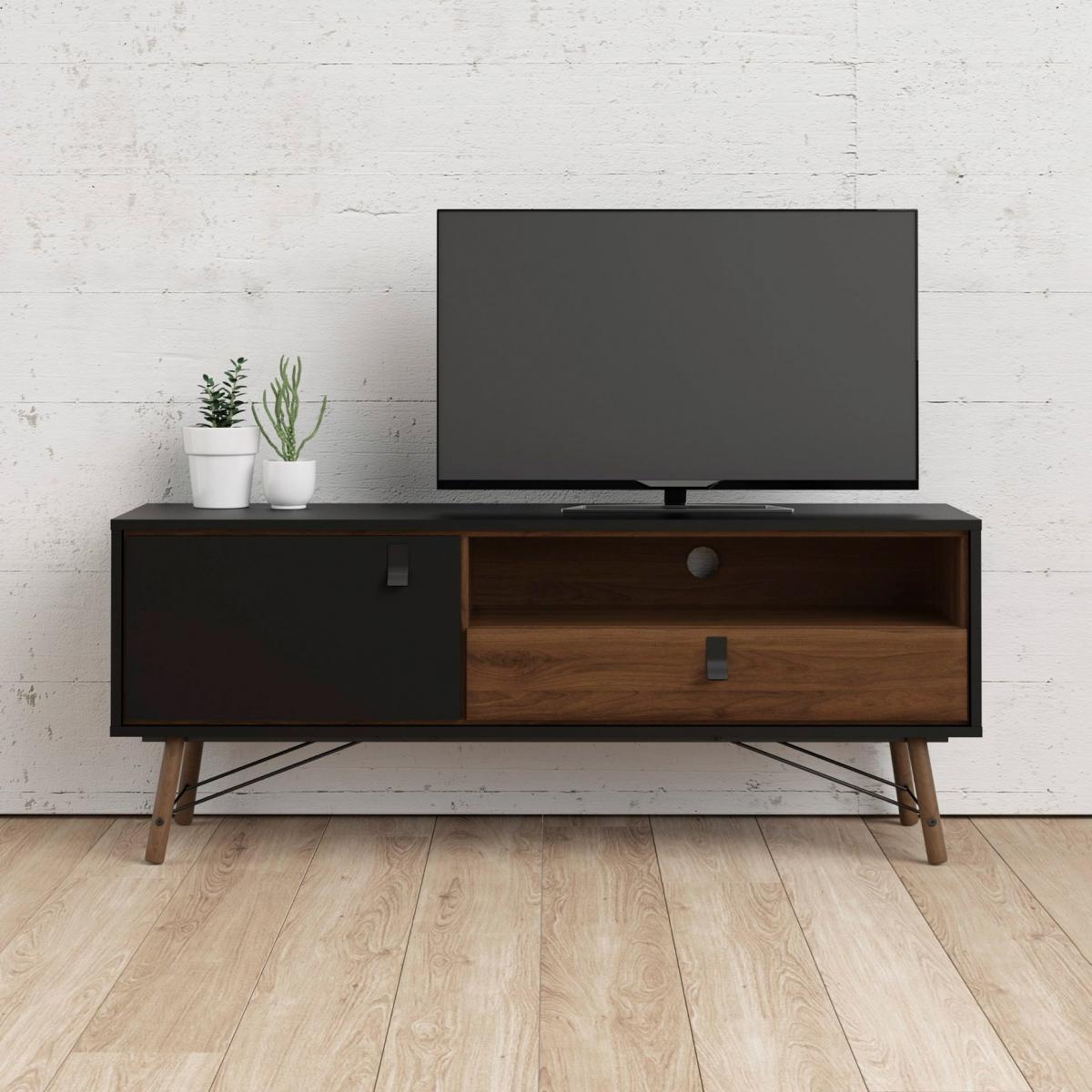 TV stolek Rain 007 černá MAT/ořech