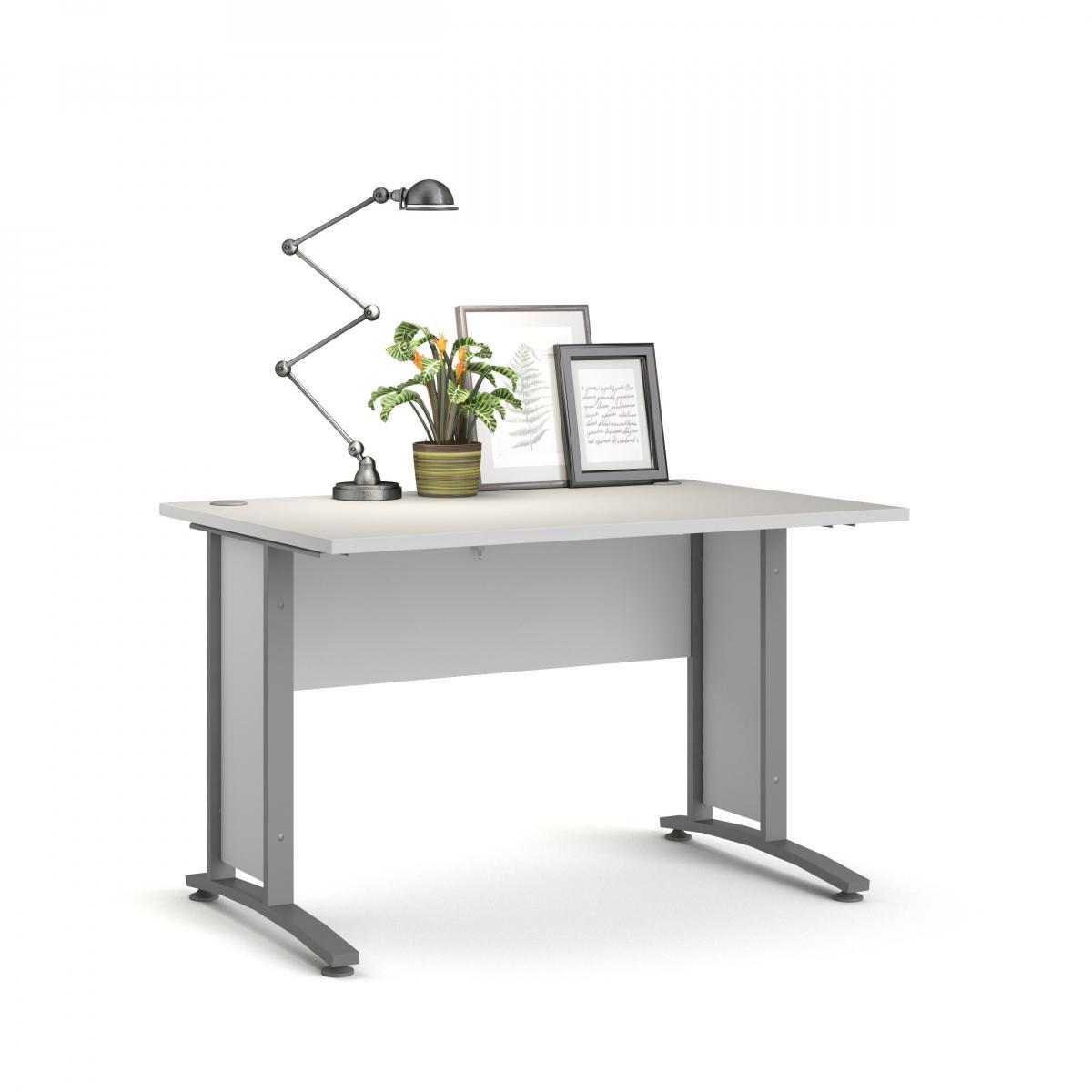 Psací stůl Office 403/437 bílá/silver grey