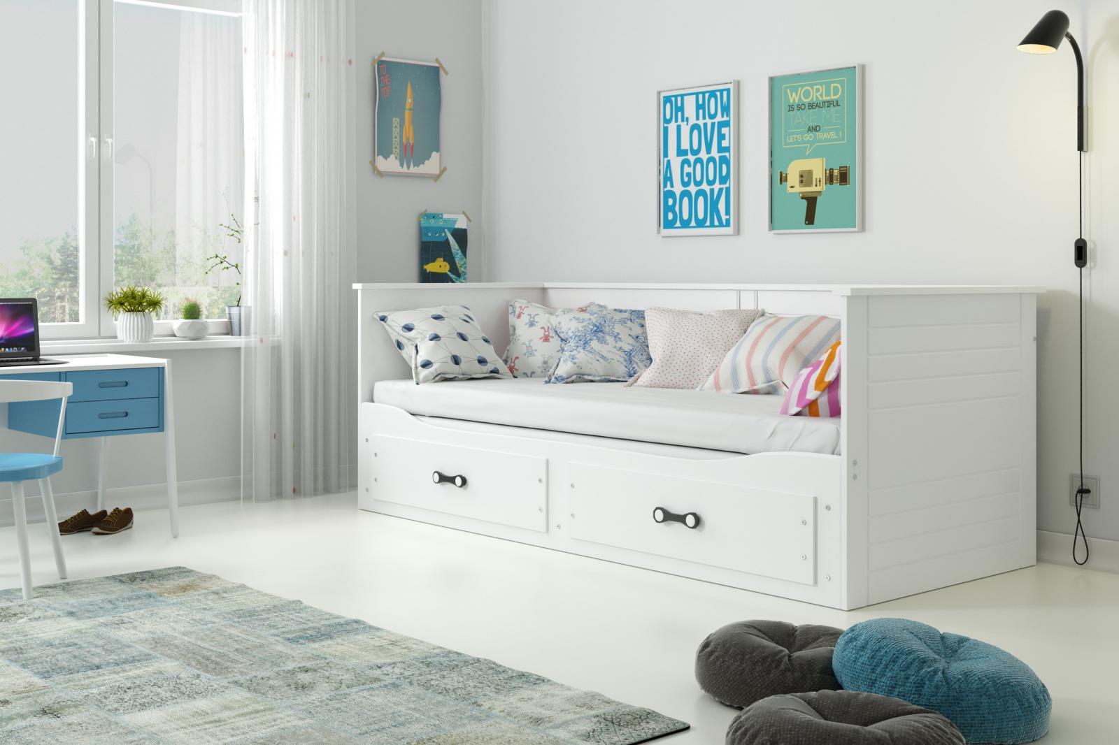 Rozkládací postel s matracemi Harwig bílá
