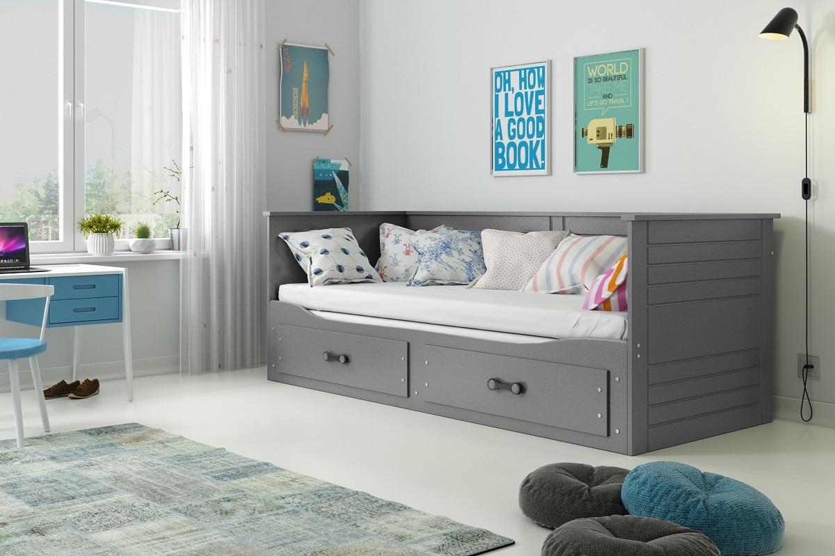 Rozkládací postel s matracemi Harwig grafit