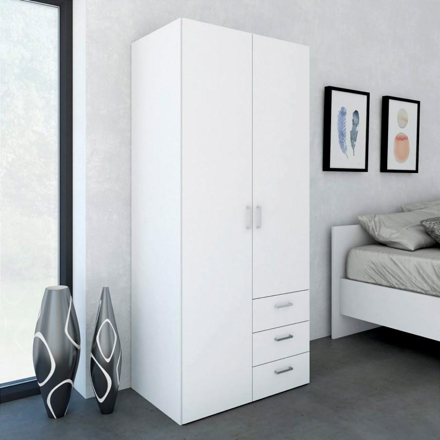 šatní skříň SID 2D3S bílá/bílá