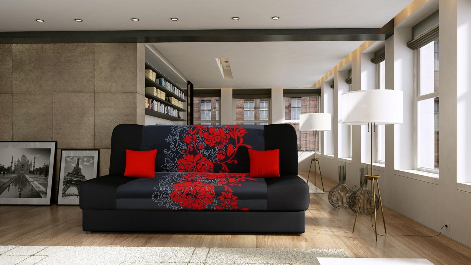 Pohovka Jasmín červený květ